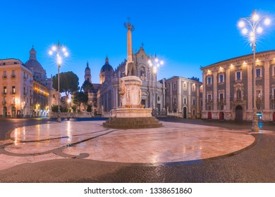 Piazza Duomo in Catania with the Cathedral of Santa Agatha and Liotru, symbol of Catania, at night, Sicily,