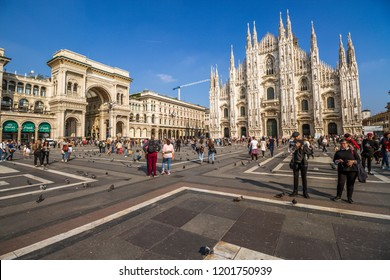 Piazza Duomo with Dome Cathedrale with People and Tourists in Milan,Italy-October 2018