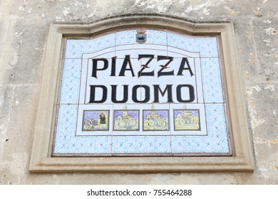 Piazza Duomo, Matera, Italy - local square name sign.