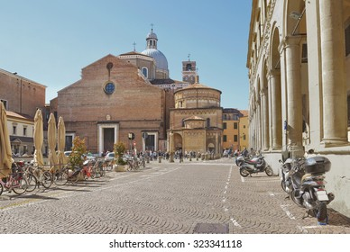 Piazza Duomo in Padua with Cathedral on the background