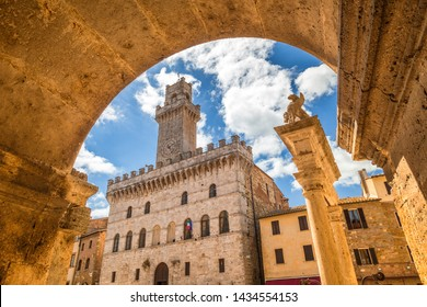 Piazza Grande, a main square in Montepulciano, a town in the province of Siena in Tuscany, Italy, Europe.