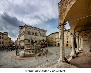 Piazza IV Novenbre and Fontana Maggiore in Perugia, Umbria Italy