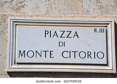 Piazza Montecitorio, street sign in the heart of Rome whre the Italian Chamber of Deputies is located