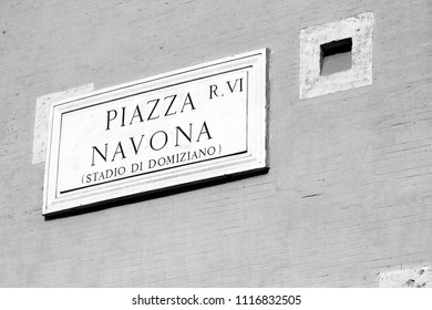Piazza Navona - one of the most famous squares in the world, and the most famous in Rome, Italy. Black and white vintage style.