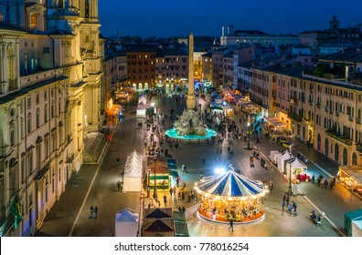 Piazza Navona in Rome during Christmas time. Italy.