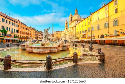 Piazza Navona square in Rome, Italy. Neptune Fountain. Rome architecture and landmark.