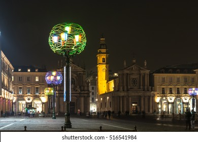 Piazza San Carlo at Christmas time in Turin, Italy Turin,Italy,Europe - December 4, 2015 : Night view of Piazza San Carlo at Christmas time
