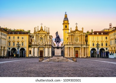 Piazza San Carlo square and twin churches of Santa Cristina and San Carlo Borromeo in the Old Town center of Turin, Italy, on sunrise