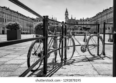 Piazza San Carlo square and twin churches of Santa Cristina and San Carlo Borromeo in the Old Town center of Turin, Italy
