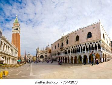Piazza San Marco with Campanile, Basilika San Marco and Doge Palace. Venice, Italy