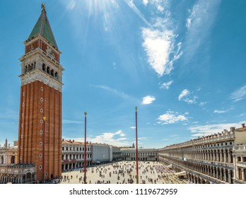Piazza San Marco or St Mark's Square with Campanile, Venice, Italy. San Marco Square is the main tourist attraction of Venice. Historical architecture of Venice under the blue sky for background.