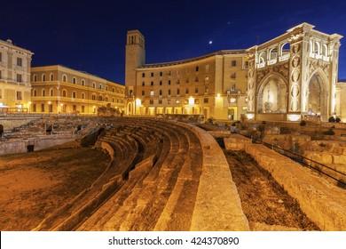 Piazza Santo Oronzo and Anfiteatro Romano in Lecce. Lecce, Apulia, Italy