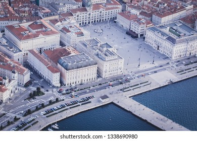 Piazza Unità d'Italia in Trieste, shoot taken from an helicopter. It is the biggest plaza facing sea in Europe. You can also see part of Molo Audace.