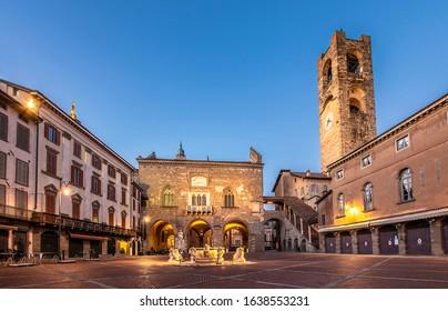 Piazza Vecchia night view in Bergamo City.
