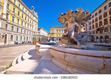 Piazza Vittorio Veneto square and fountain in city of Trieste, Friuli Venezia Giulia region of Italy