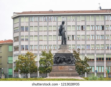 Piazzale Michelangelo Buonarroti Square with Sign and Giuseppe Verdi Musician Statue with Copy Space in Milan,Italy-October 2018