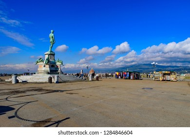 Piazzale Michelangelo (Michelangelo Square) with bronze statue of David, the square with panoramic view of Florence, Italy