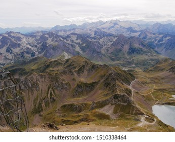Pic du midi, Pyrénées/ France - 09/09/2019 : Lake d'Oncet and massif franco espagnol view of the pic du midi in the Pyrenees