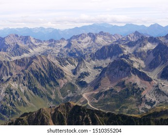 Pic du midi, Pyrénées/ France - 09/09/2019 : View over the French-Spaniard massif at the Pic du Midi in the Pyrenees France