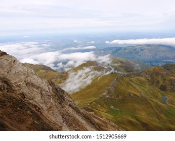 Pic du midi, Pyrénées / France - 09/09/2019 : Pic du Midi, panorama on the Bagnère de Bigorre valley in the high Pyrenees France