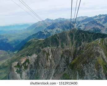 Pic du midi, Pyrénées/ France - 09/09/2019 : Panorama of the massif of the French-Spanish Pyrenees seen from the Pic du Midi