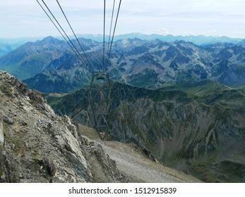 Pic du midi, Pyrénées/ France - 09/09/2019 : Panorama of the massif of the French-Spanish Pyrenees view of the Pic du Midi cable car