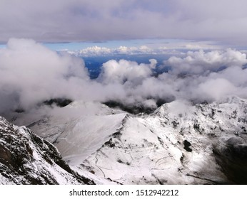 Pic du midi, Pyrénées / France - 09/09/2019 : Panorama under the snow on the Bagnère de Bigorre valley in the Pyrenees view of the Pic du Midi