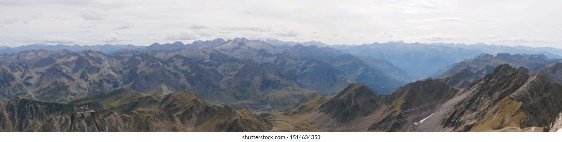 Pic du midi, Pyrénées / France - 09/09/2019 : Panoramic picture of the French-Spaniard massif at the Pic du Midi in the Pyrenees France