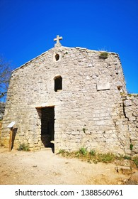 PIC SAINT LOUP, FRANCE - March, 25, 2019: Church at Pic Saint-Loup mountain in Languedoc-Roussillon, the highest point of Montpellier, Occitanie, southern France, located  in the Herault department.