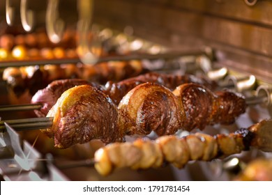 Picanha barbecue roasted over hot coals. This form of barbecue is widely consumed throughout Brazil.