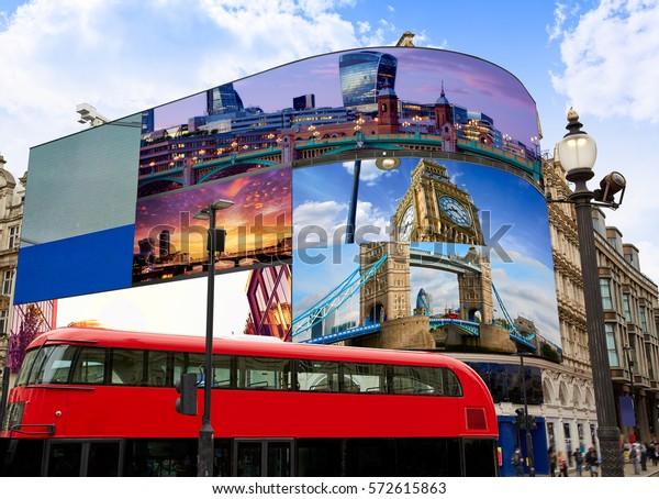 Piccadilly Circus London画面上の画像は、私の著作権であるデジタル写真マウント写真イラストです