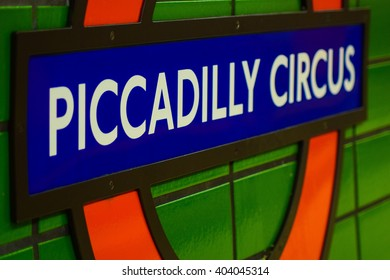 Piccadilly Circus underground sign in London. Picture taken in London 21/12/2015.