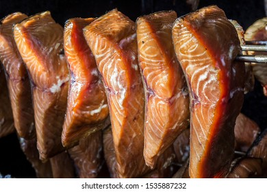 Pices of fish in a smoking oven.