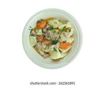 Pichelsteiner -  German stew that contains several kinds of meat and vegetables.vegetables are added, which are usually potatoes, diced carrots and parsley,