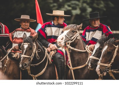 "Pichilemu, Sexta region / Chile - February 03 2018: Traditional chilean huasos on an event called ""Trilla a yegua suelta"". Chilean culture."
