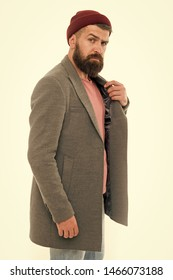 Pick matching clothes. Find outfit style you feel comfortable. Stylish casual outfit. Menswear and fashion concept. Man bearded hipster stylish fashionable coat and hat. Stylish outfit hat accessory.