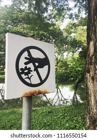 """Don't pick the flower""Prohibition sign in Limpini park bangkok,Thailand."