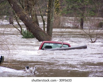 Pick up truck submerged