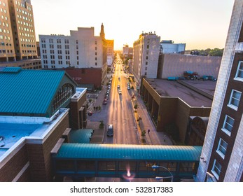 Pick from a variety of breath taking views capture by a drone. Aerial photos are taken from a variety of places and themes. Enjoy the aerial views!  Downtown Davenport Aerial View