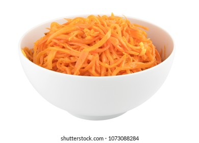 Picked hot carrot with spices in white bowl, traditional asian foodm isolated on white