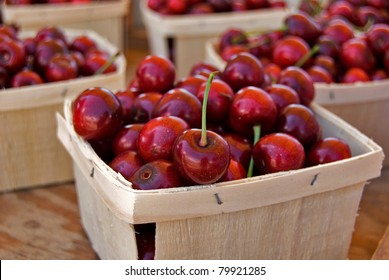 picked Michigan cherries in produce boxes