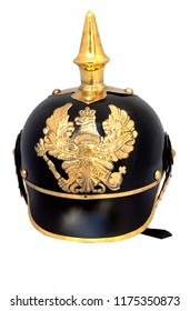 The Pickelhaube is a spiked helmet worn in the nineteenth and twentieth centuries by German military, firefighters, and police. Isolated.