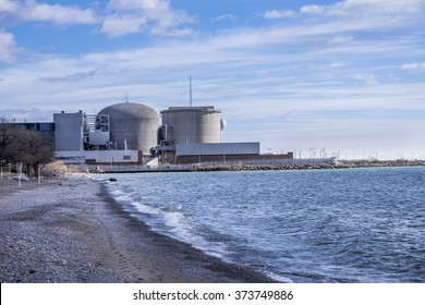 The Pickering Nuclear Power Plant as seen from the Beachfront Park in Pickering Ontario Canada.