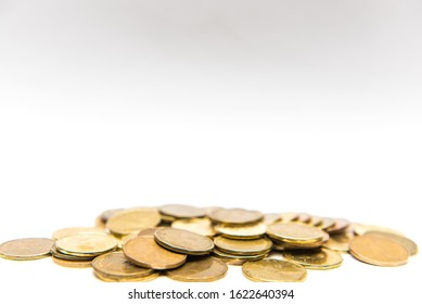 Pickering, Ontario/Canada - January 16 2020: Canadian Dollar coins loonies isolated on white background with copy space.