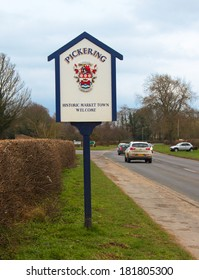 Pickering (small town in North Yorkshire, England ) welcome sign.