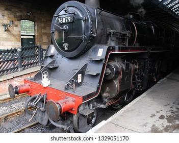 Pickering, Yorkshire/England - September 2017 ex British Railways Class 5 4-6-0 steam locomotive at Pickering station, North Yorkshire, UK. Class 5 locomotives are also known as  Black 5.