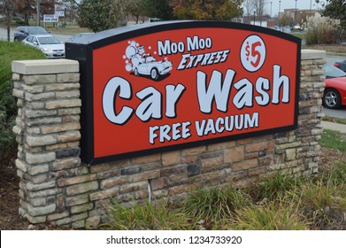 Pickerington, OH/USA - November 16,2018: Moo Moo Express Car Wash is a chain based in the midwest with locations through out Ohio.