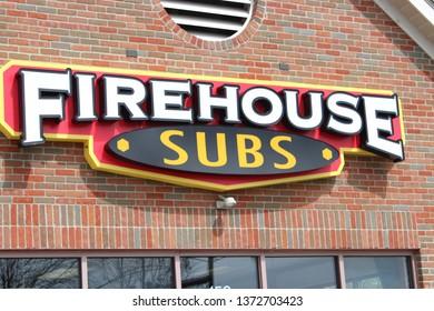 Pickerington,OH/USA April 11,2019: Fire House Subs sandwich shop provides fresh sub sandwiches to order.