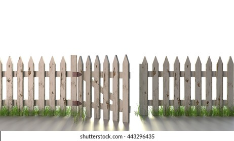 Picket Fence with Open Gate An old picket fence with peeling white paint. Isolated on white 3d Rendering