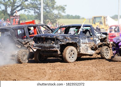 Pickett, Wisconsin / USA - September 18th, 2020: hollywood motorsports entertainment held their annual paws for the cause demolition derby.